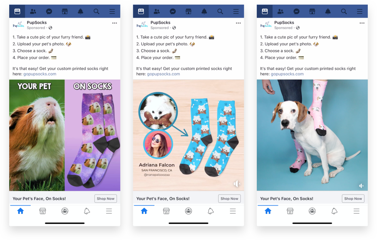 Pupsocks Facebook Ads