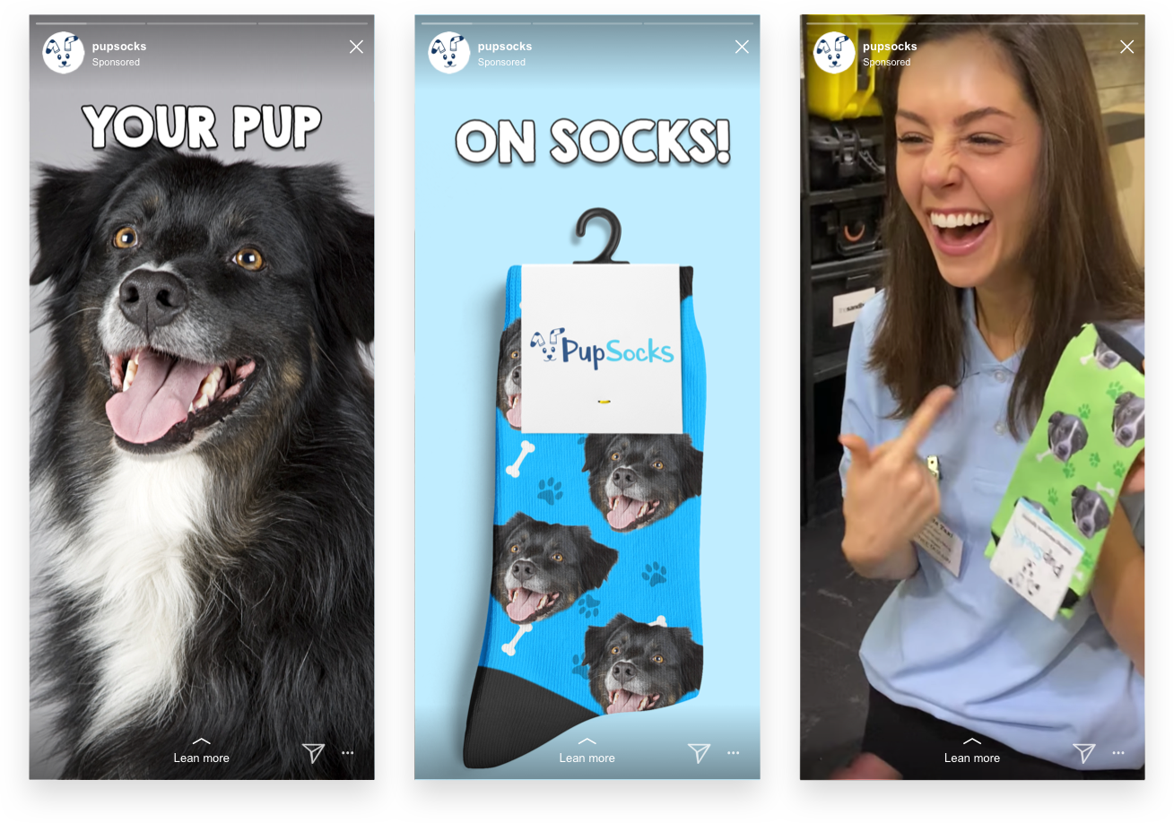 Pupsocks Instagram Stories Ads