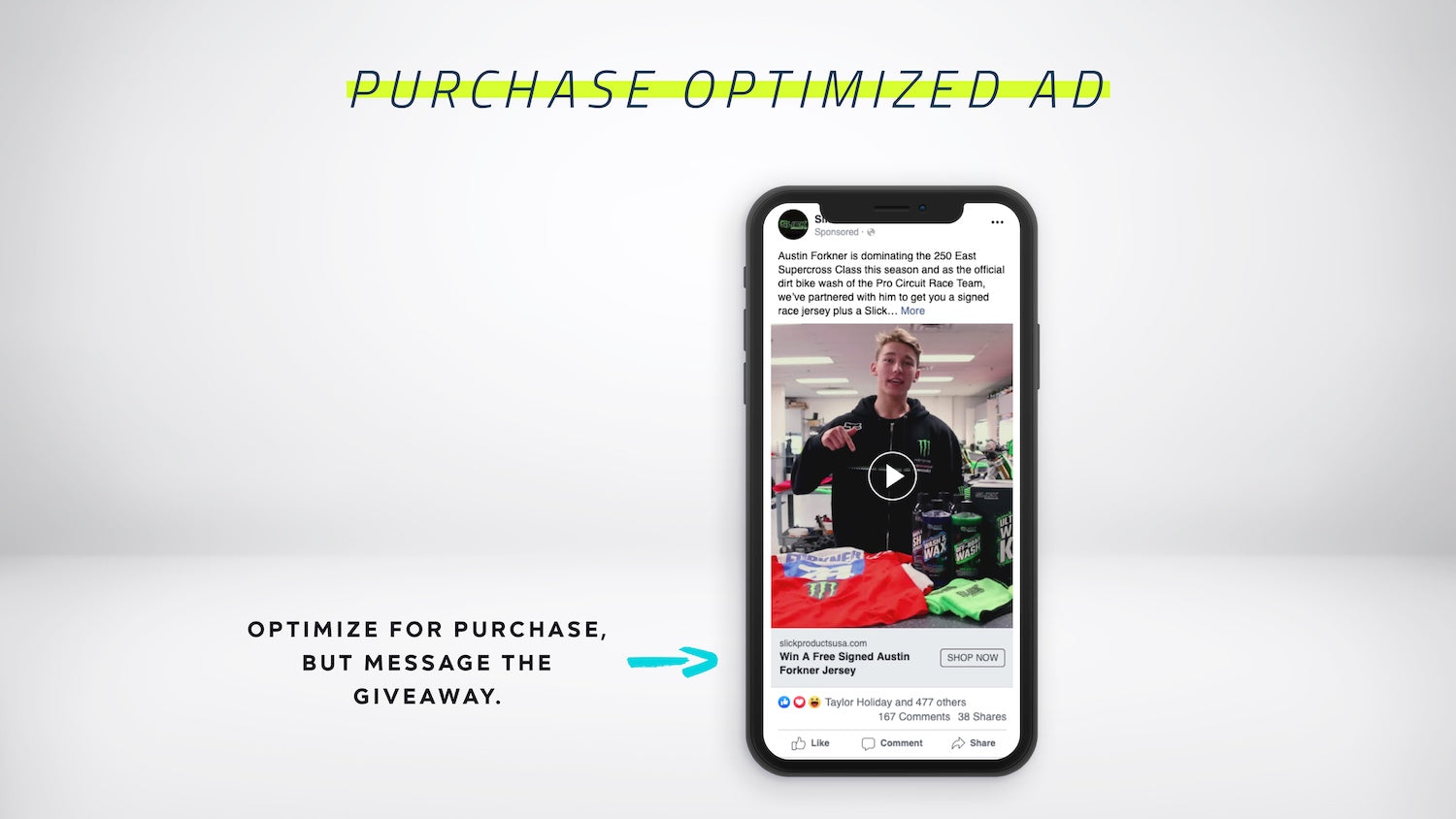 Purchase optimized ad to amplify the giveaway