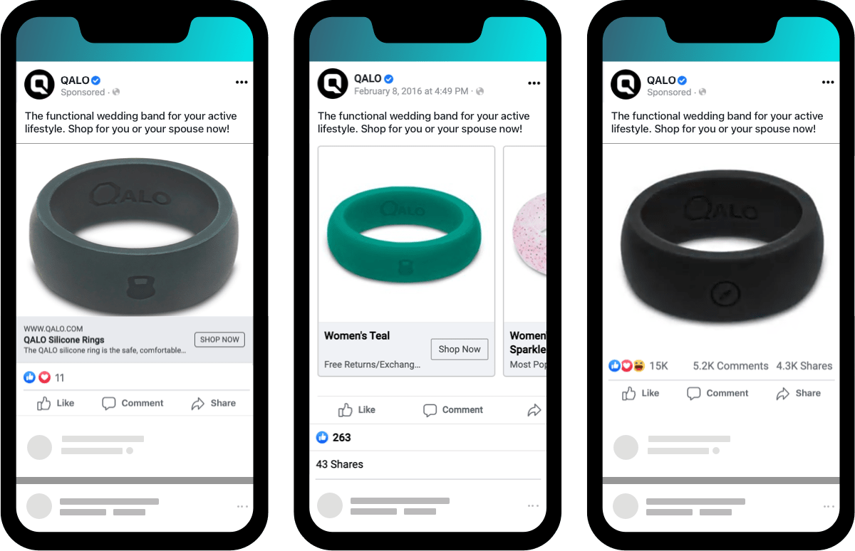 Simple QALO Facebook ecommerce ads for a novel product