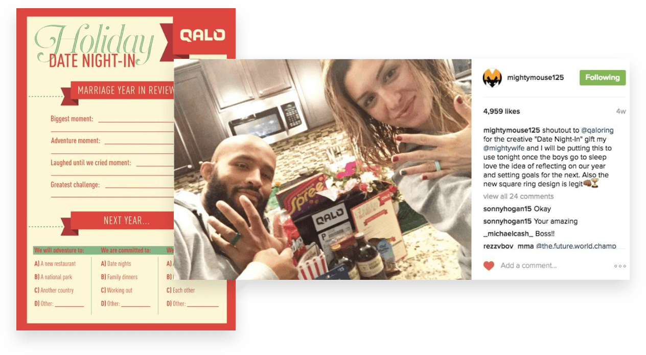 ecommerce influencers for QALO, holiday date night
