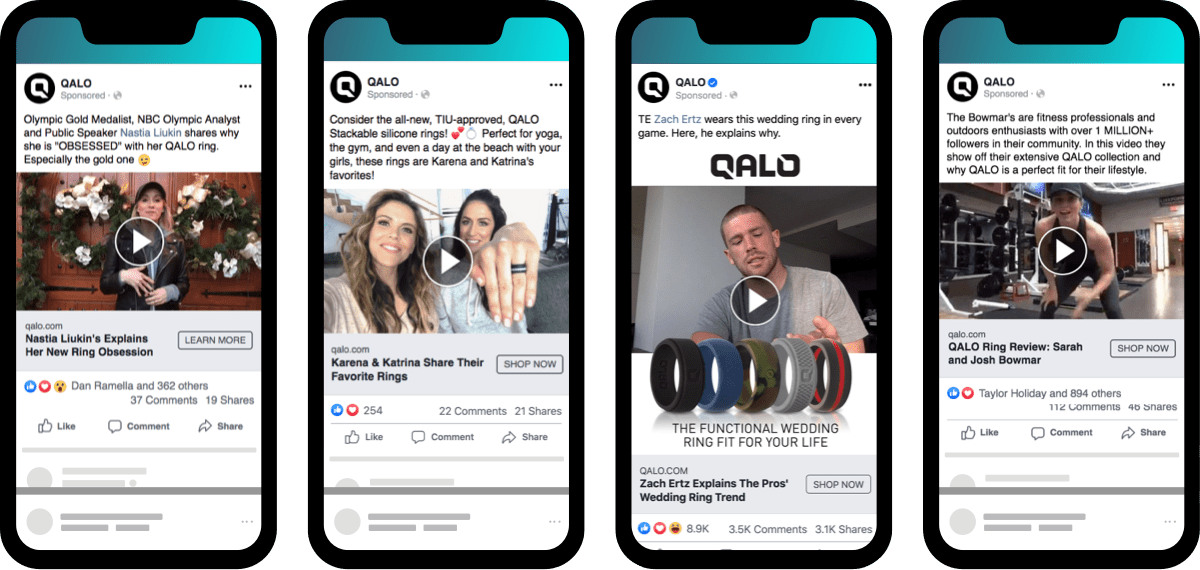 ecommerce ad examples of effective influencer marketing campaigns for QALO