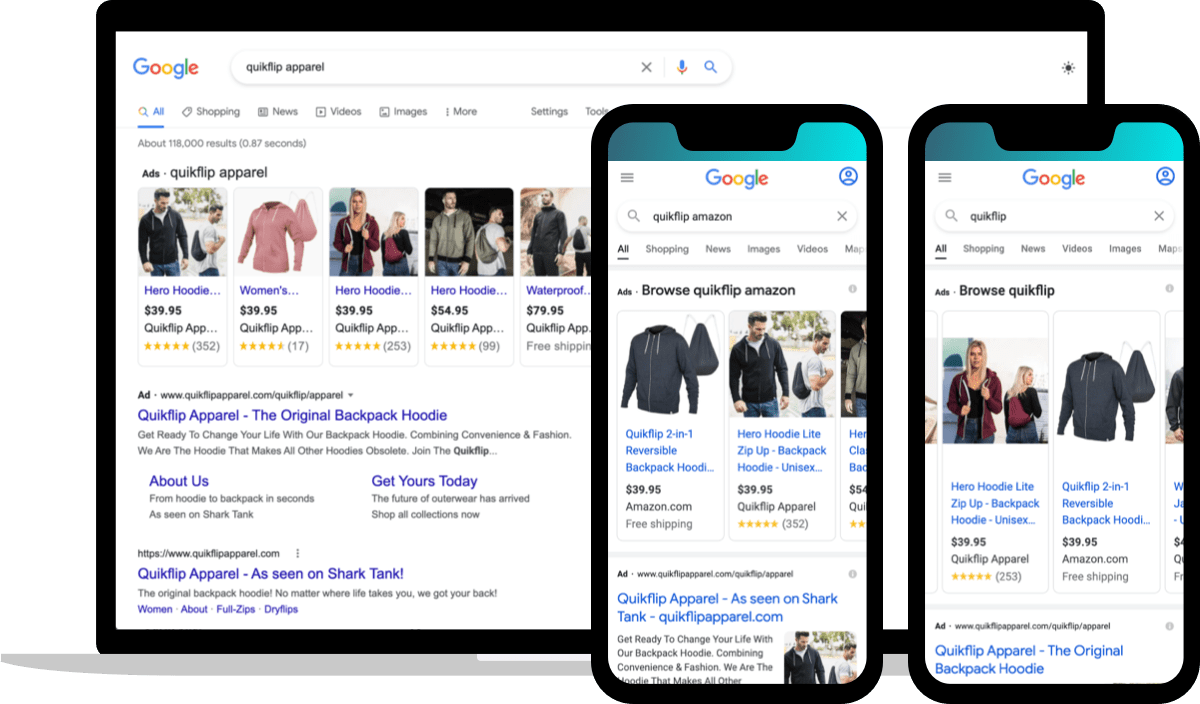 branded search engine results for ecommerce brand Quikflip Apparel