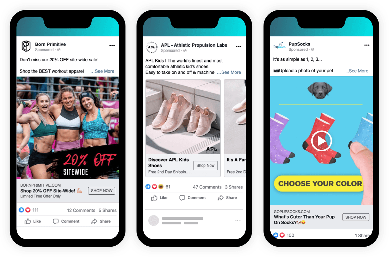 Prospecting ads that double as remarketing ads for various brands. From left to right: Born Primitive, APL - Athletic Propulsion Labs, and PupSocks.
