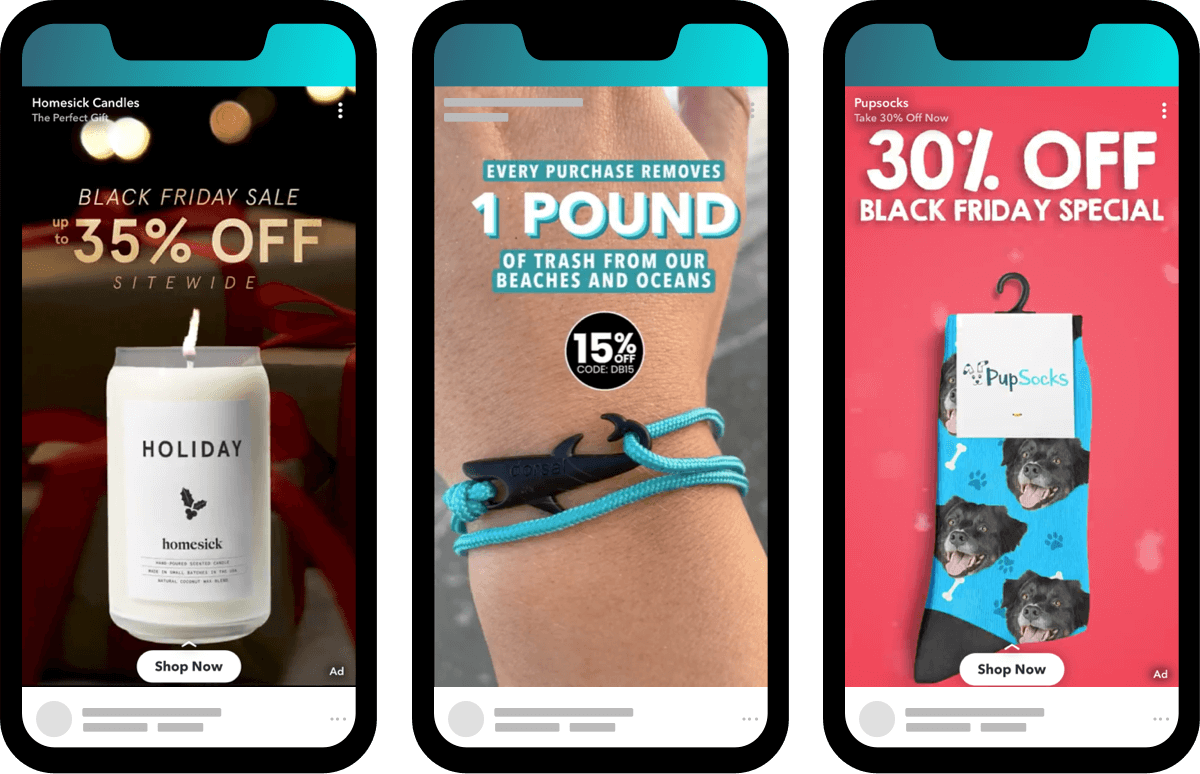2019 Snap ads for Homesick Candles, Dorsal Bracelets, and PupSocks