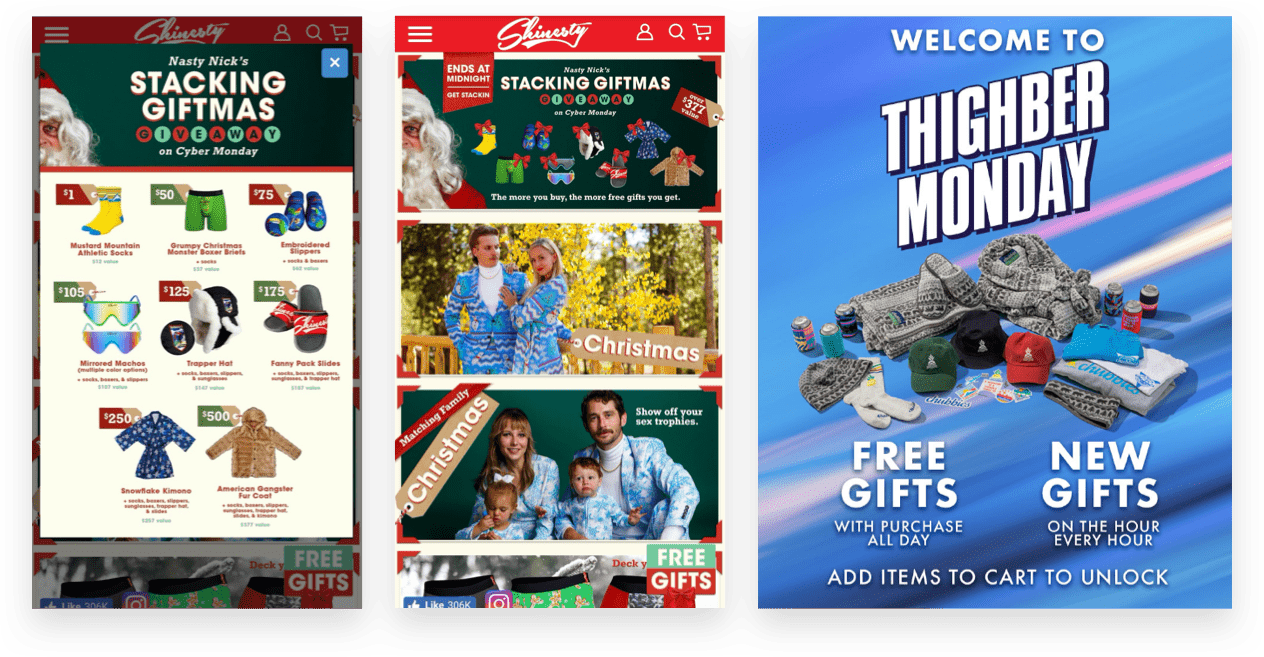 Examples of ecommerce holiday campaign strategy: rapidly release new gifts