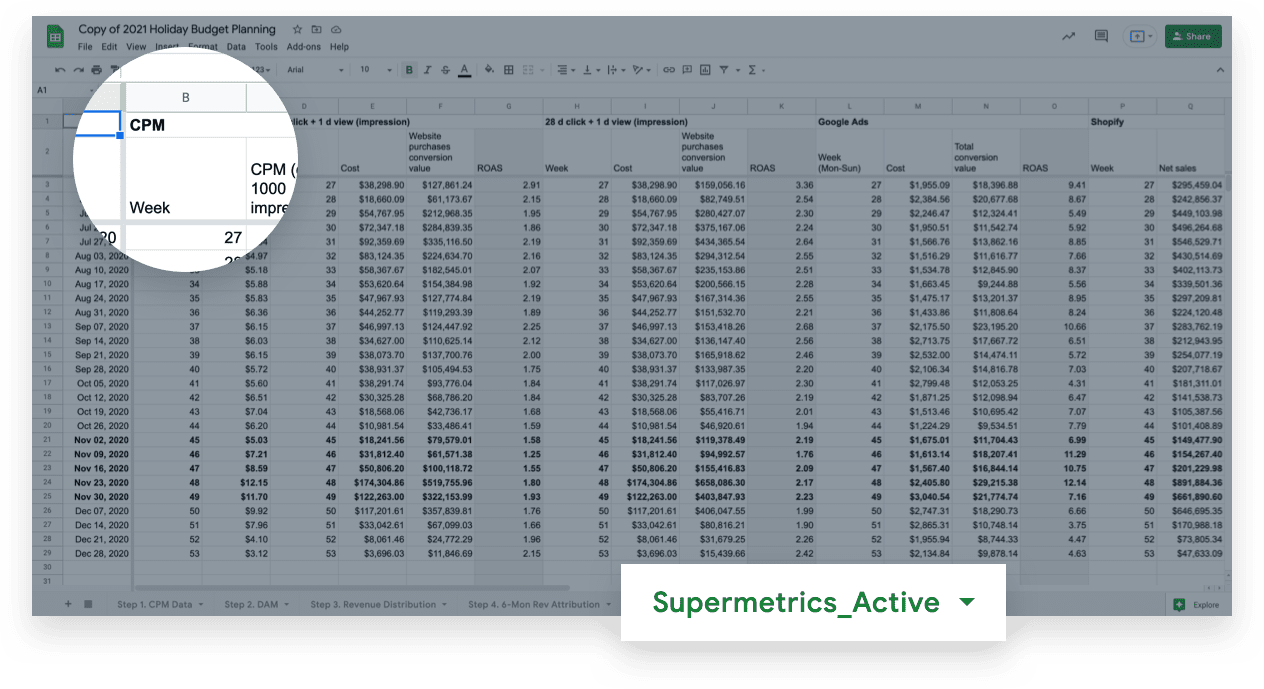 connect supermetrics to your Facebook ad account inside the Supermetrics_Active tab