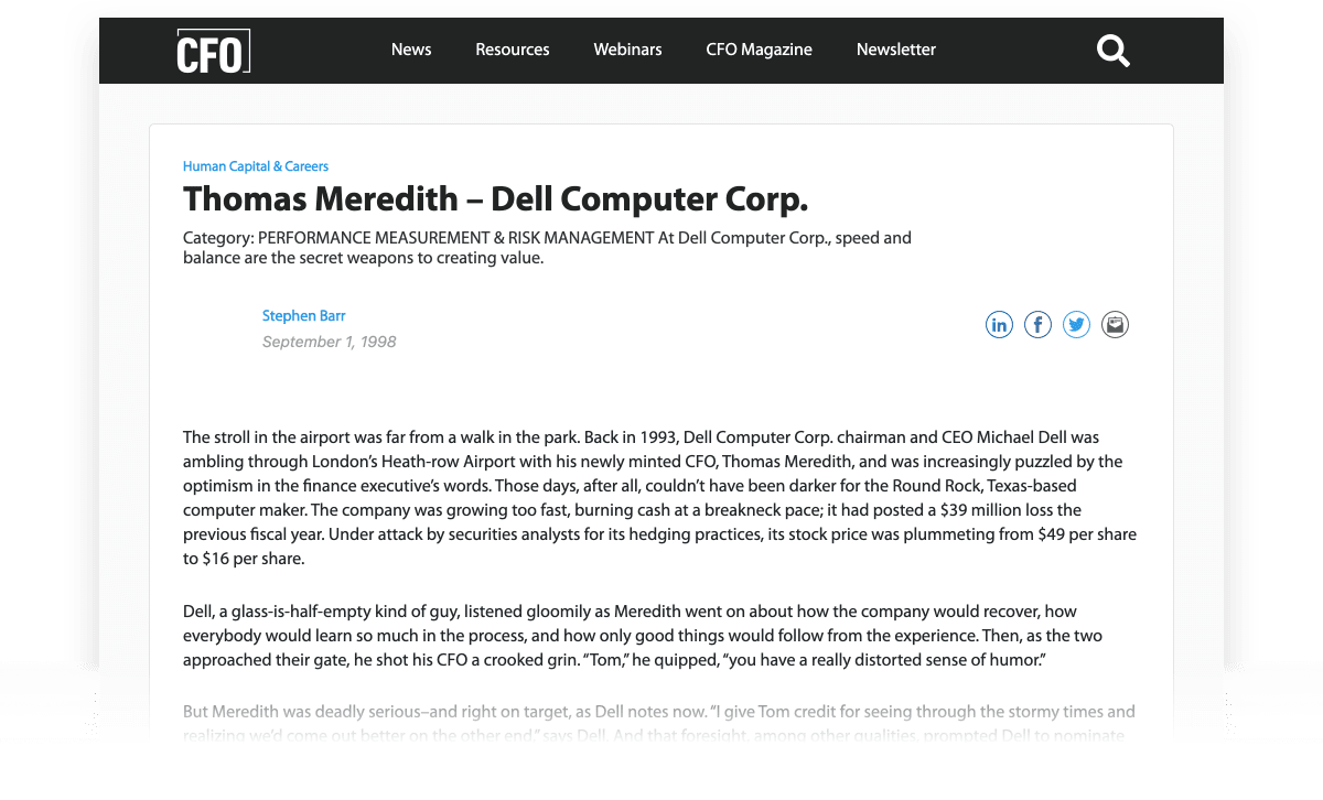 Thomas Meredith - Dell Computer Corp + Another Formula