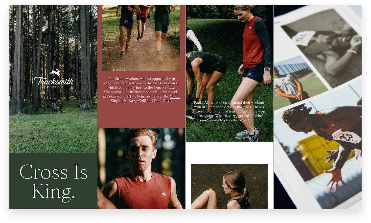 Tracksmith Content Collage of Product Launches, Blogs, and Print Magazine