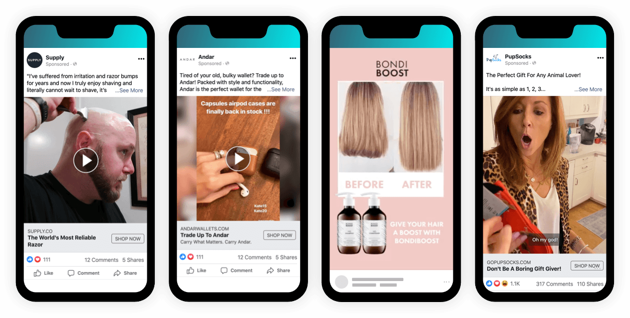 User-generated content makes use of your most loyal customers in ecommerce advertisements for user engagement and customer retention. Ad examples from left to right: Supply, Andar, Bondi Boost, and PupSocks.