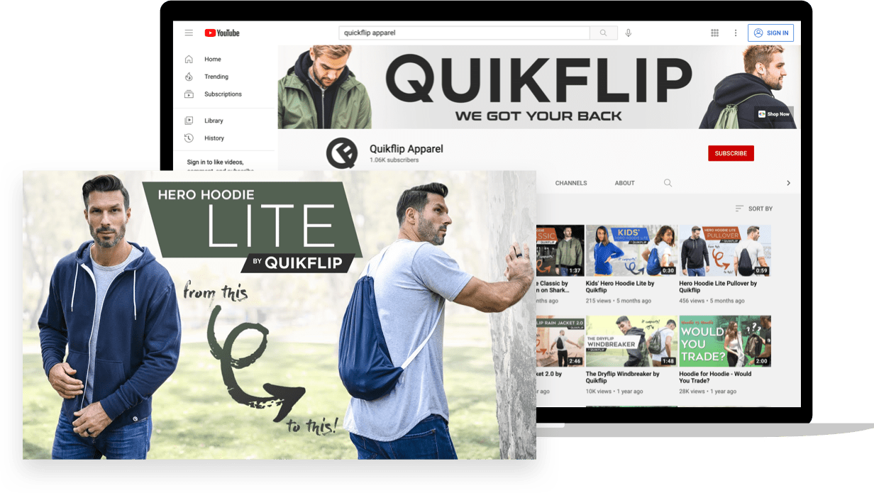 Youtube prospecting ad creative for ecommerce apparel brand Quikflip