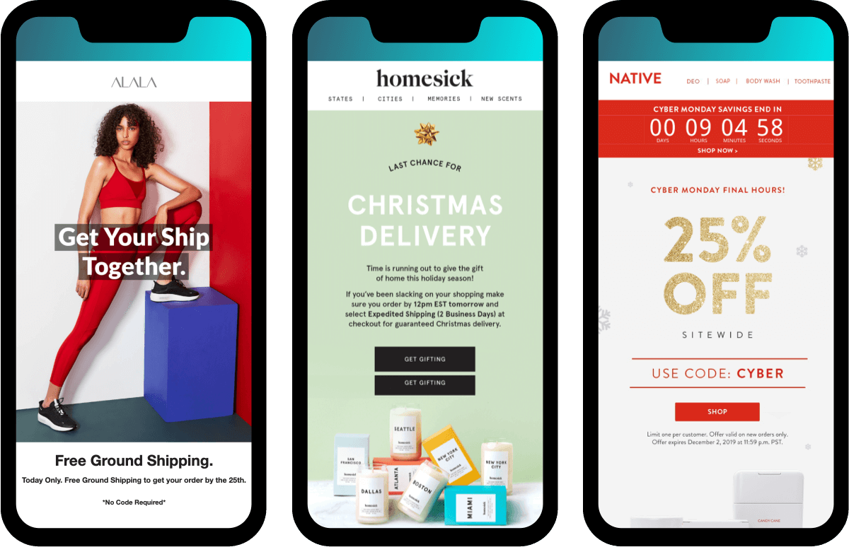 build urgency with Black Friday Emails: Alala, Homesick, Native