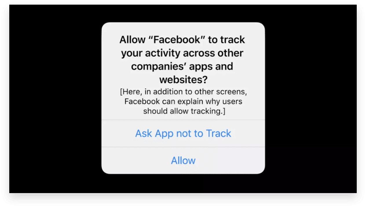 Apple iOS 14 ATT Prompt: facebook ad tracking