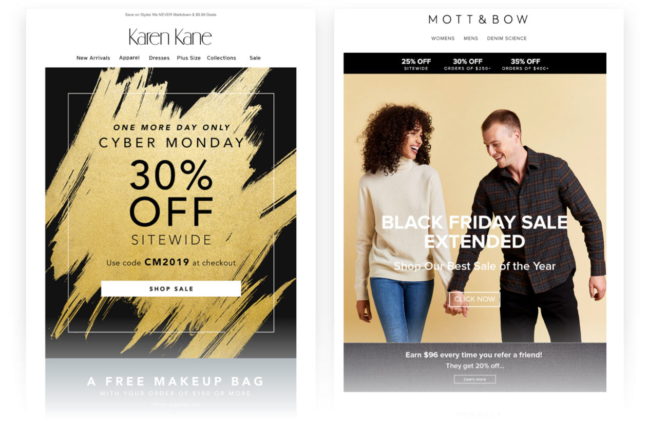 Black Friday Weekend emails continue building momentum: Karen Kane, Mott & Bow