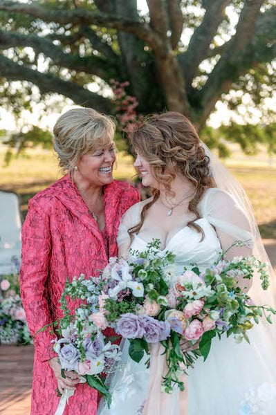 Custom Mother of the Bride outfit for Kallie O'Malley for her daughter's wedding at Weddings at Windy Knoll, Round Top, Texas