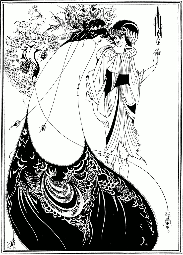 The Peacock Skirt is an 1893 illustration by Aubrey Beardsley