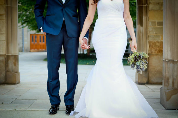 Alison Flowers custom wedding gown by David Peck