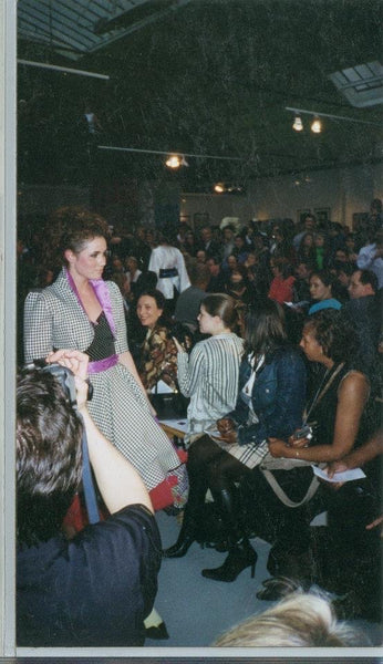 Alison Flowers modeling in David Peck's first fashion show