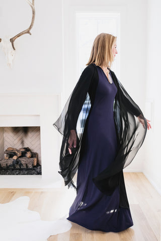 Carly Lee from Style wearing David Peck's chiffon poncho in black and the CStyle  maxi gown