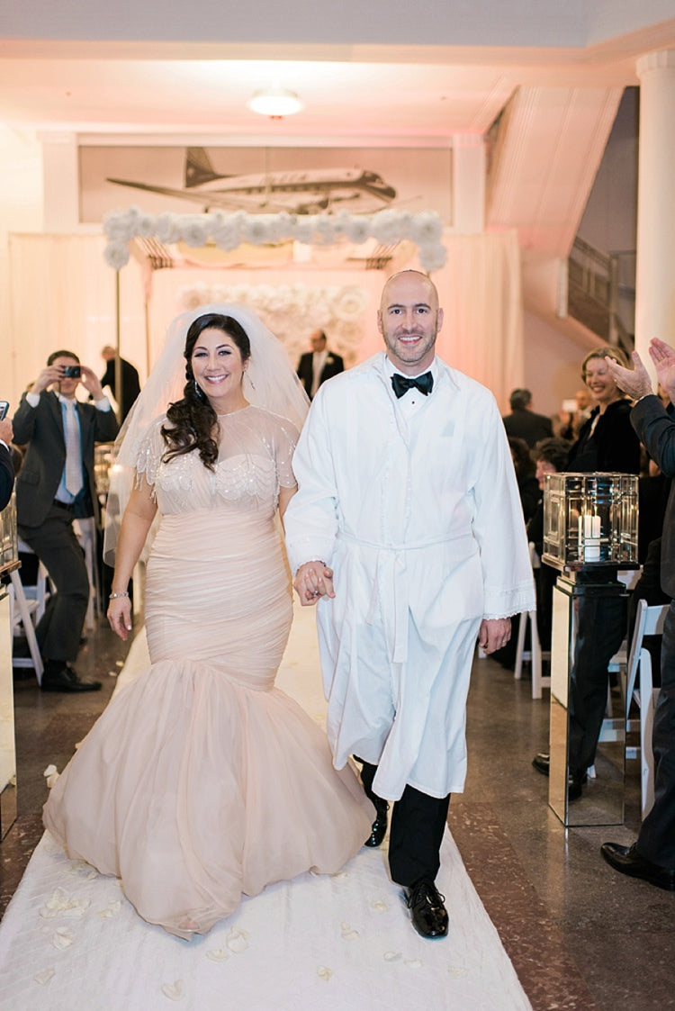 Miles David by David Peck, Custom Wedding Gown, Texas Wedding, Houston Wedding, Jewish Wedding, Pink Wedding Gown