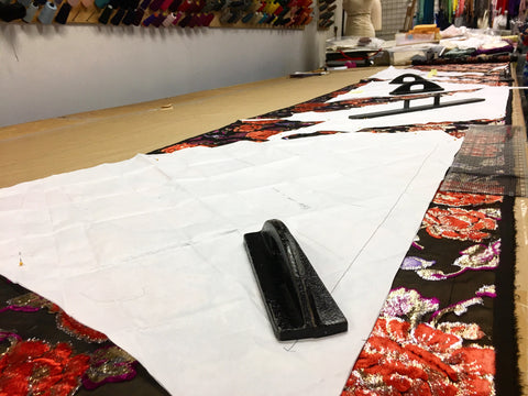 Amy Pierce fabric on the cutting table