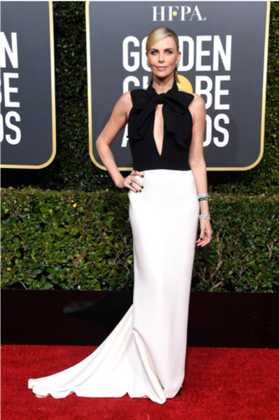 Charlise Theron Golden Globe Awards Red Carpet Bow Trend by David Peck
