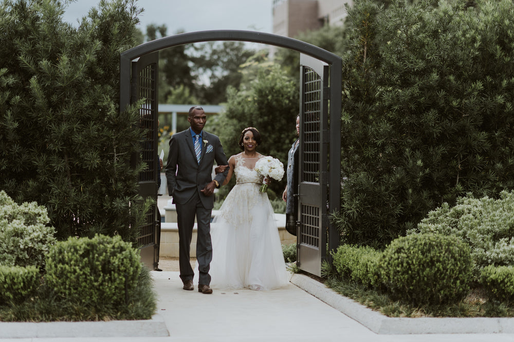 Miles David by David Peck, Custom Wedding Gown, Texas Wedding, Houston Wedding, Rose Gold Wedding Gown, McGovern Gardens Wedding, Hermann Park Wedding
