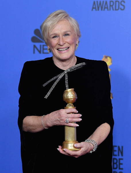 Glen Close Golden Globes Red carpet bow trend by David Peck
