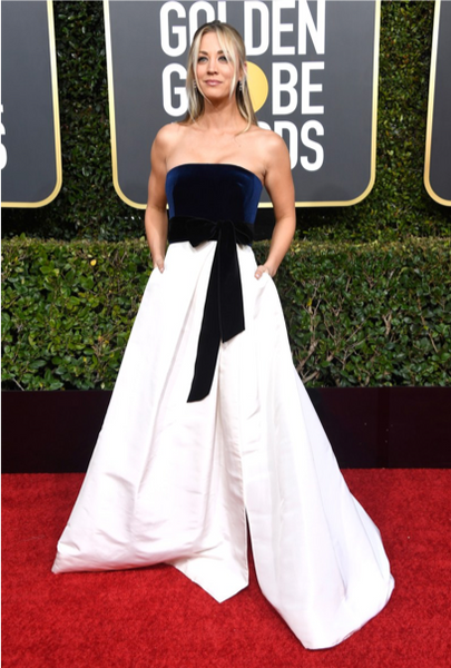 Kaley Cuoco Golden Globe Awards Red Carpet Bow Trend by David Peck