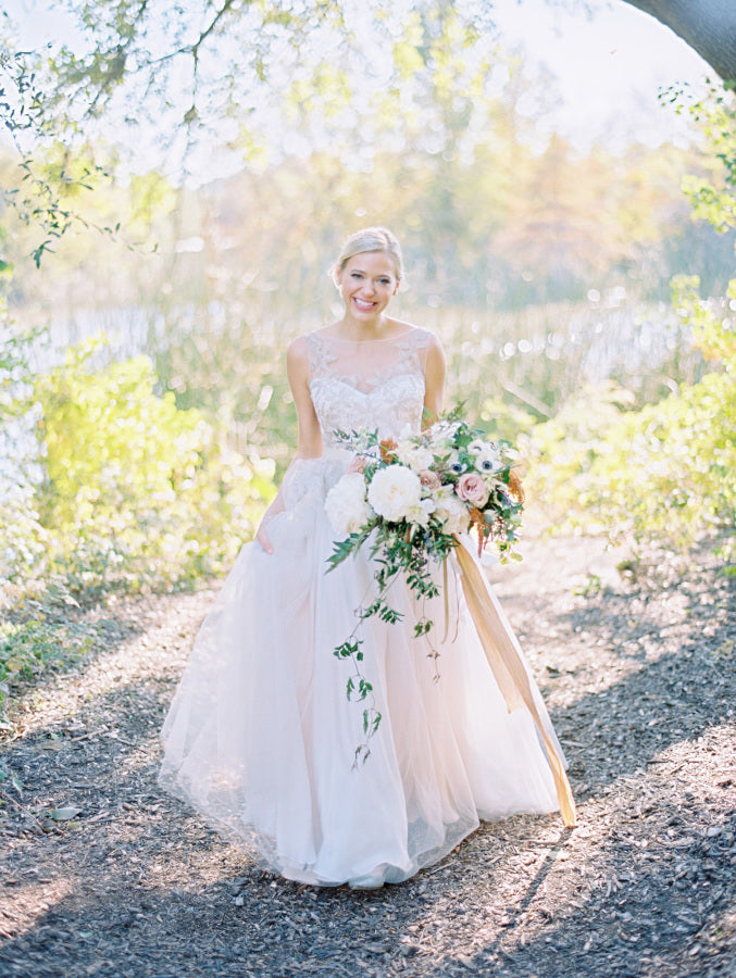Miles David by David Peck, Custom Wedding Gown, Texas Wedding, Austin Wedding, Blush Wedding Gown, Style Me Pretty Wedding