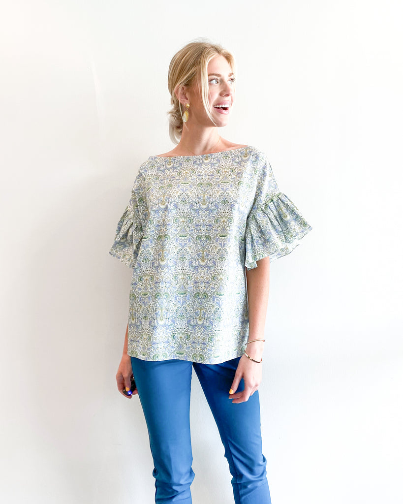easy summer cotton top in Liberty of London prints designed by David Peck