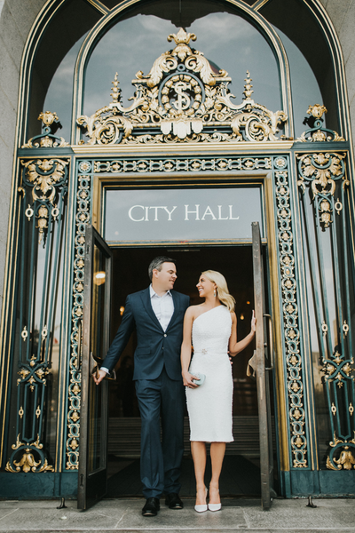San Francisco City Hall Elopement. Custom pearl and feather one-shoulder cocktail dress.