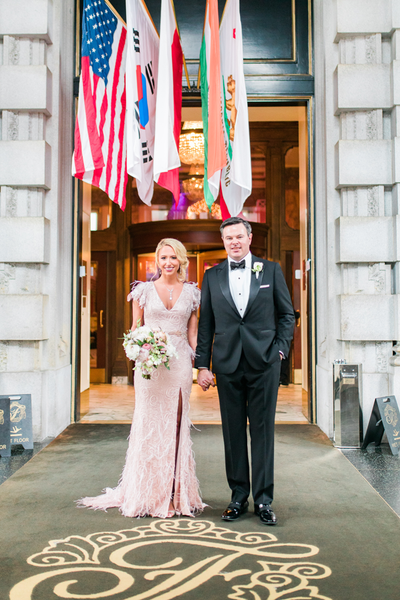 Custom Pink Wedding gown with beading and feathers for Ashley Seippel's San Francisco wedding at the Fairmont. Gown by David Peck