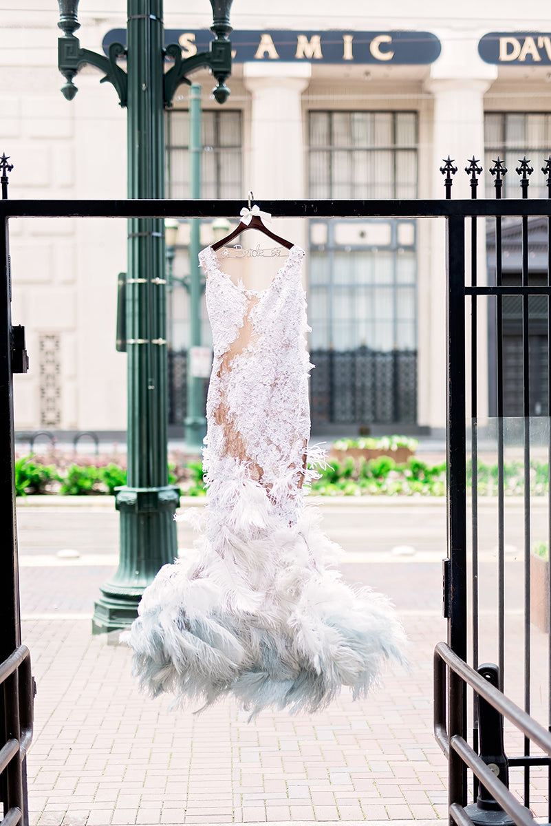 Miles David by David Peck, Custom Wedding Gown, Houston, The Corinthian Houston Wedding, Wedding gown with feathers