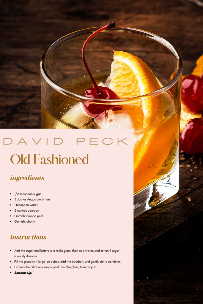 Printable recipe card for an old fashioned cocktail