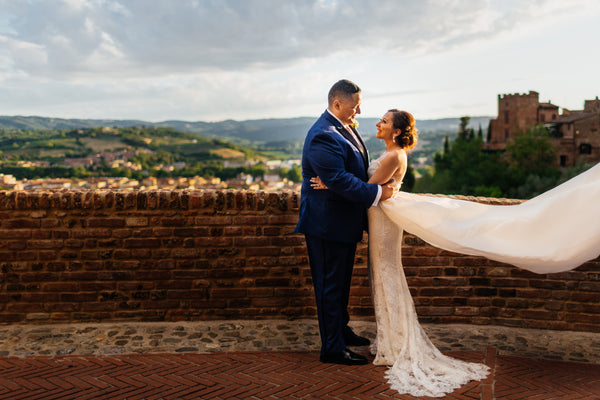 Tuscany Destination Wedding Custom Bridal Gown by David Peck
