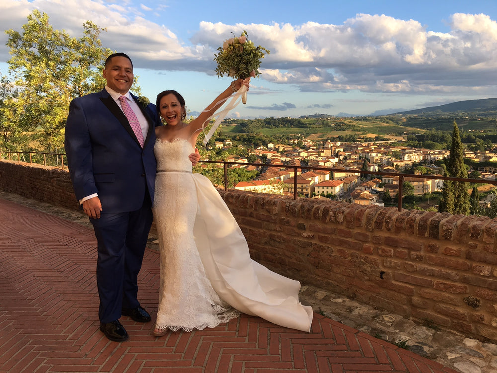 Valare Garate in a custom wedding gown from Miles David by David Peck, Tuscany Italian Wedding
