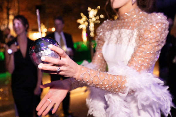 Margaret Cates custom beaded jumpsuit for her wedding reception and Austin City Limits. Designed by David Peck