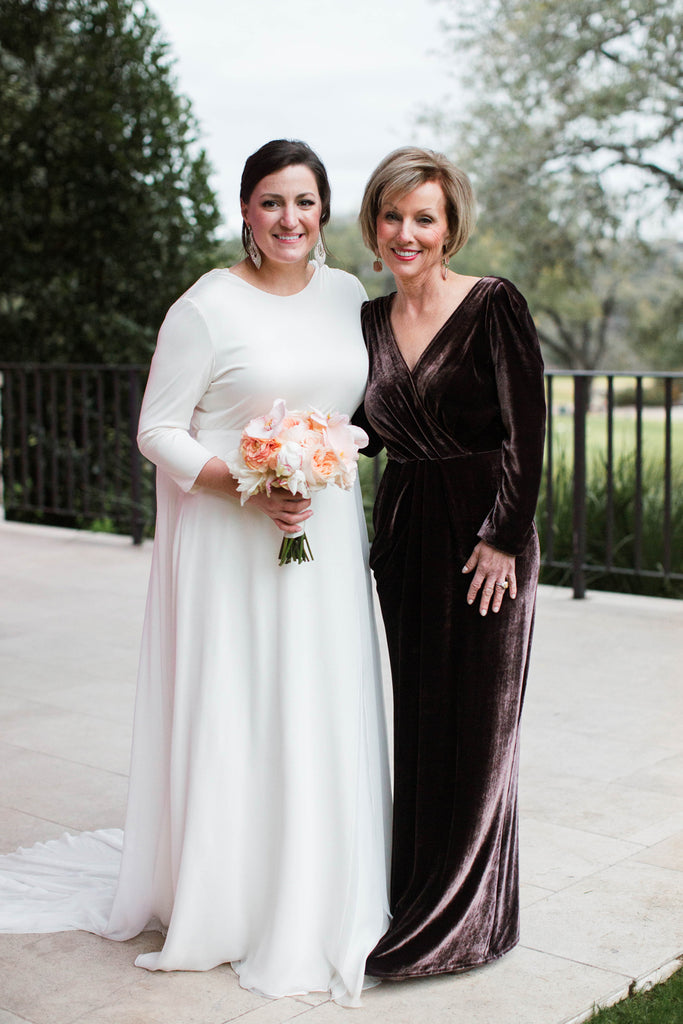Natalie Pipkin Barr Wedding Austin Texas Custom Wedding Gown and Mother of the Bride Gown David Peck