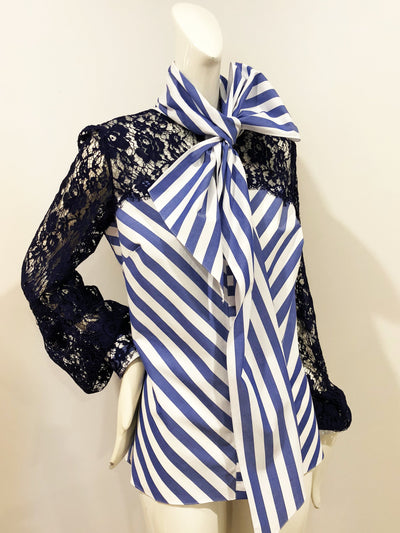 Miles David by David Peck Altair 2.0 Blouse in Navy Guipure Lace and Striped Cotton