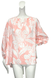 Chimayo Top |  Pink & White Tropical Floral Cotton