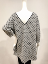 Gray and black Polka Dots French Terry three quarter sleeve top by David Peck