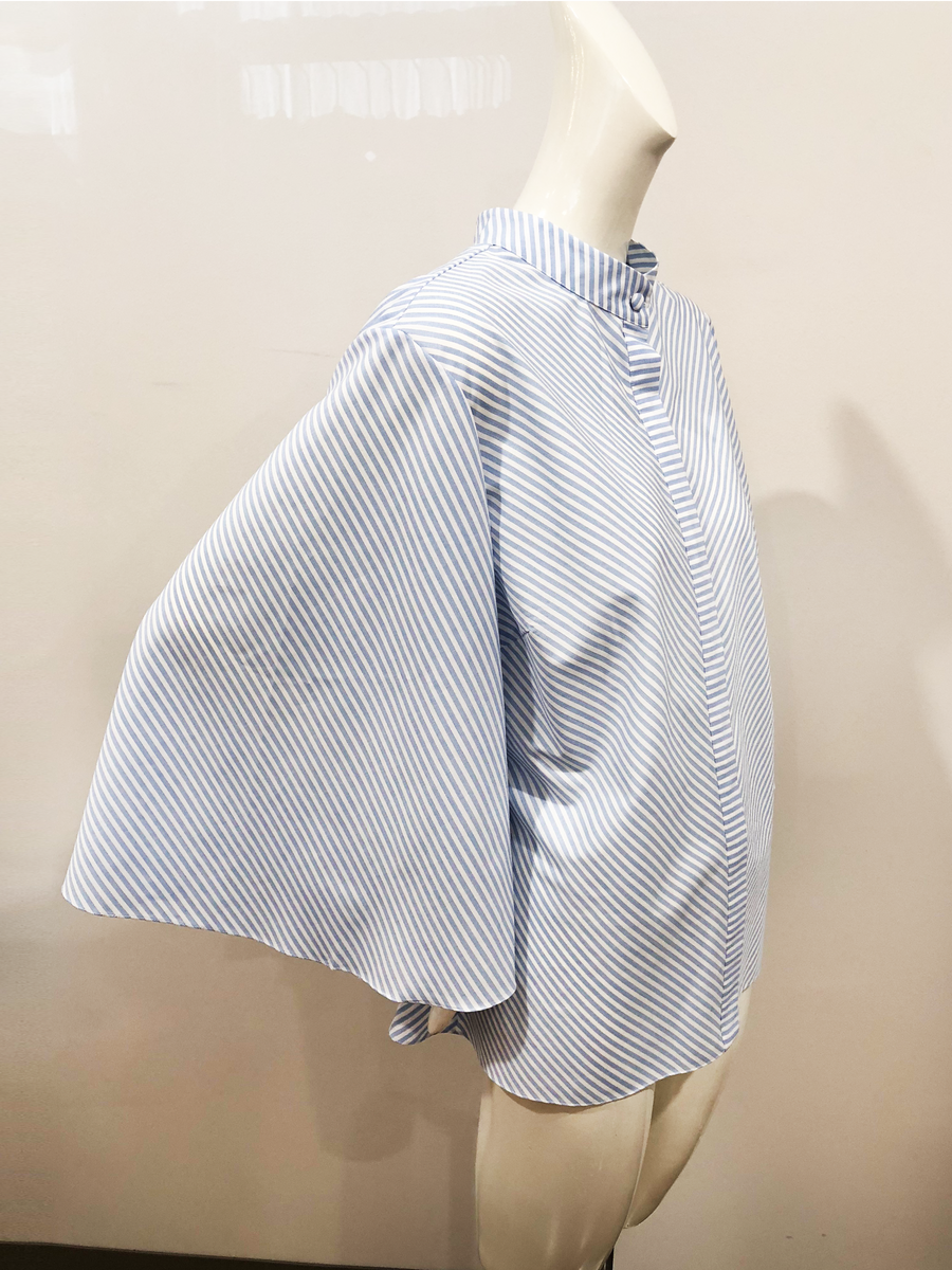 Allegro Blouse | Light Blue Wide Stripe