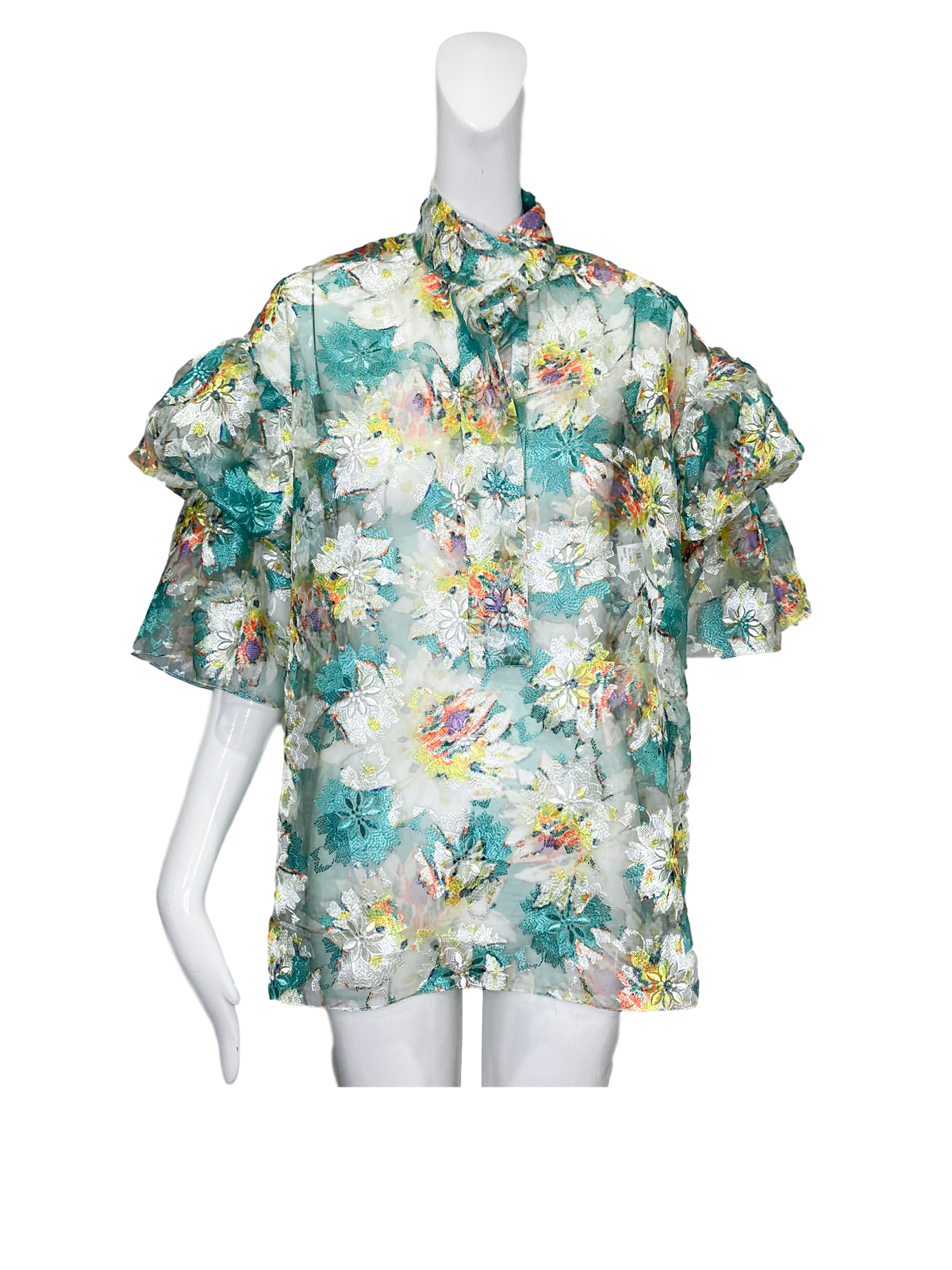 Stillwell Top |  Embroidered Floral Organza