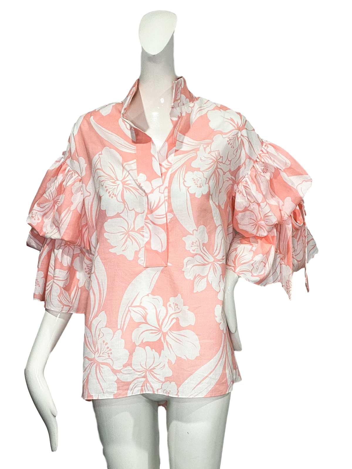 Stillwell Top |  Pink & White Tropical Floral Cotton