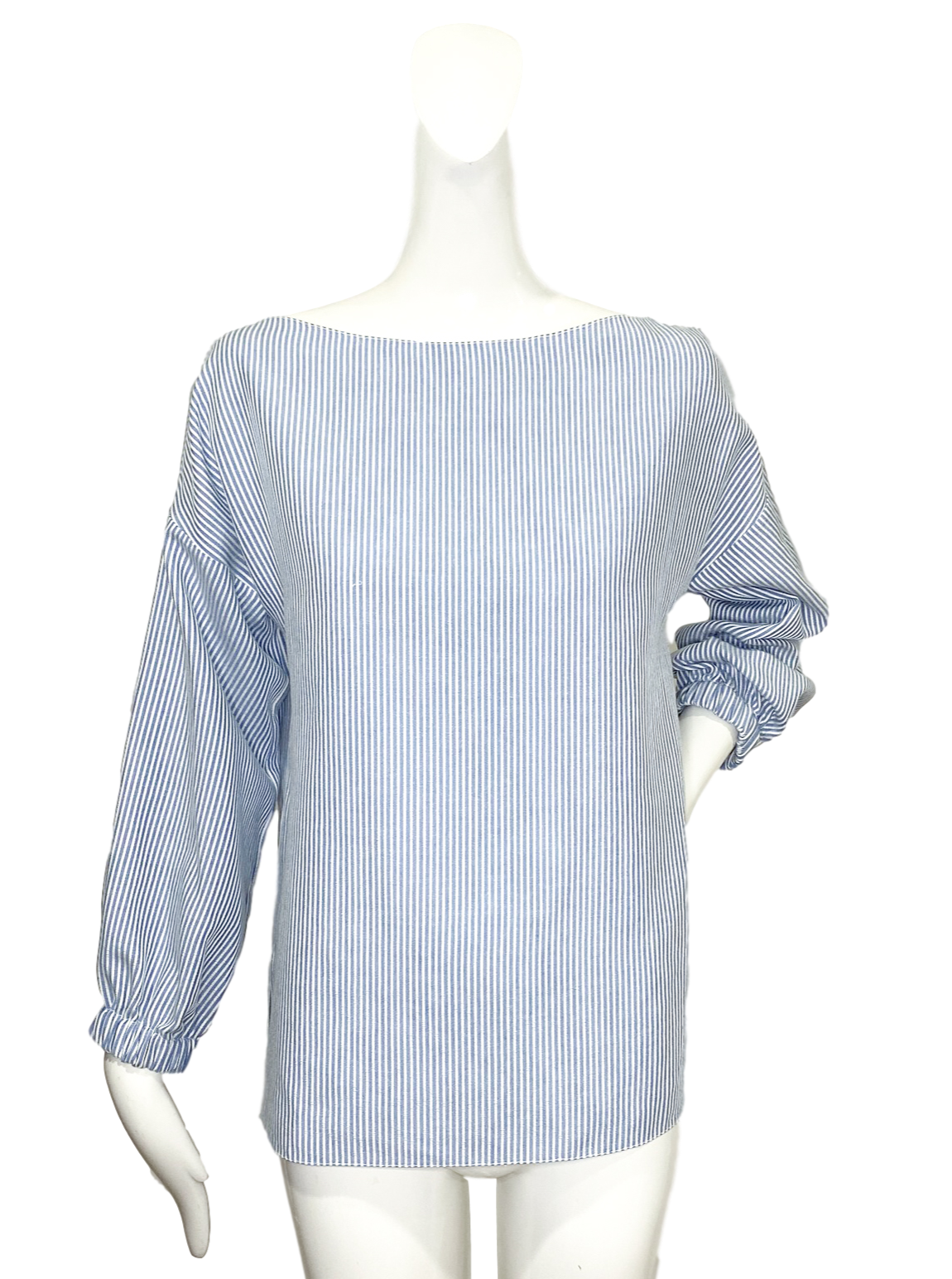 Cuba Top |  Blue Textured Stripe