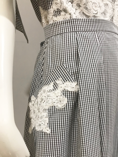 Bolo Skirt | Black/White Check with Alençon Lace