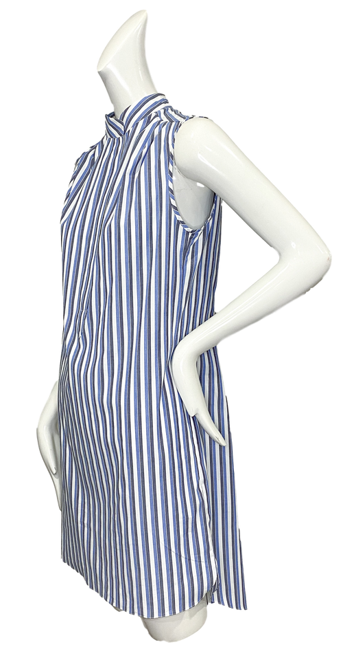 Oslo Dress | Gray & Blue Stripe
