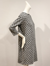 Gray and black Polka Dots French Terry three quarter sleeve shift dress by David Peck