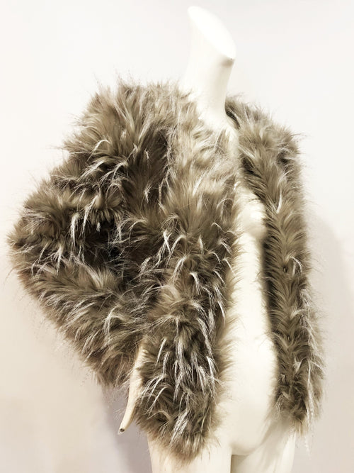 Miles David by David Peck Taupe Ostrich Faux Fur Whitney Jacket